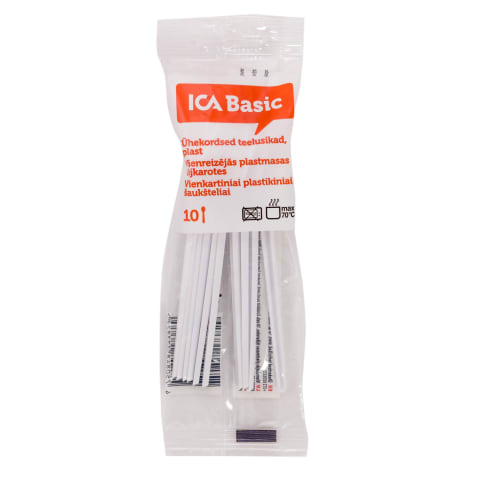 Vienr. tējkarotes ICA Basic plast. 10gab