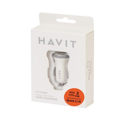 Aut. įkroviklis USB x 2 2.1A HAVIT 8801