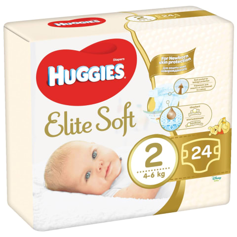 Sauskelnės HUGGIES ELITE SOFT 2, 4-7kg,24vnt.