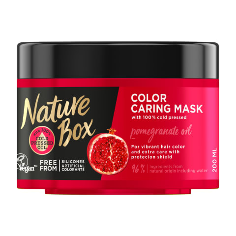 Matu maska Nature Box ar granātābolu 200ml