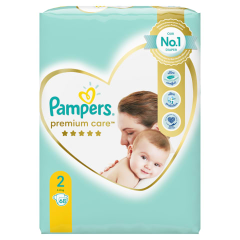Sausk. PAMPERS PREMIUM CARE 2, 4-8kg, 68vnt.
