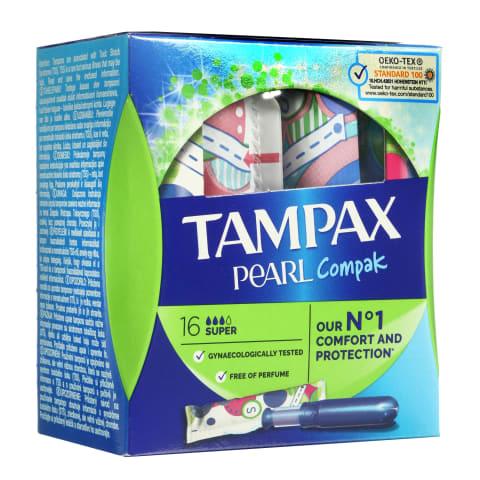 Tamponai TAMPAX COMPAC PEARL SUPER, 16vnt.