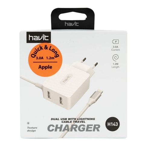 Lādētājs ar 2 USB un vadu HAVIT 143