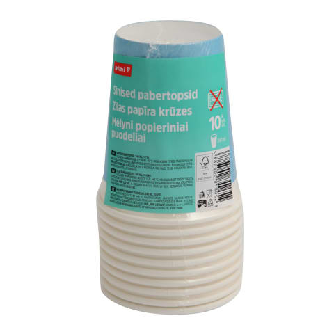 Papīra krūzes RIMI 240ml zilas 10gb