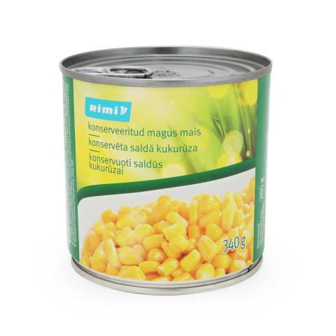 Konservēta saldā kukurūza Rimi 340g/285g