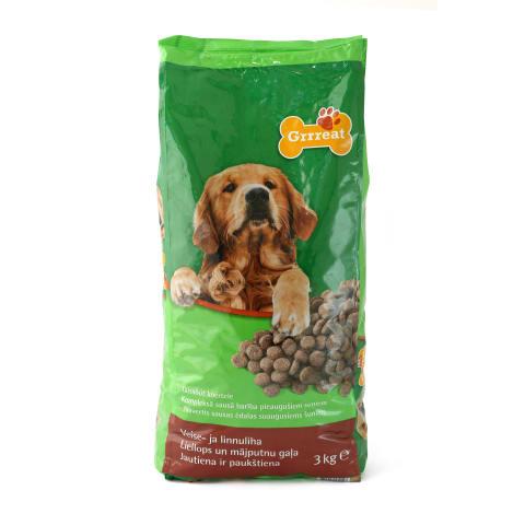 Sausas šunų ėdalas su jautiena GRRREAT, 3kg