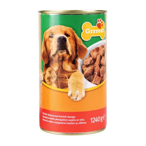 Konservi suņiem Grrreat ar mājp.gaļu 1,24kg