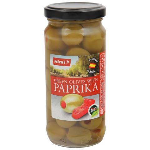 Zaļās olīvas Rimi ar papriku 235g/142g