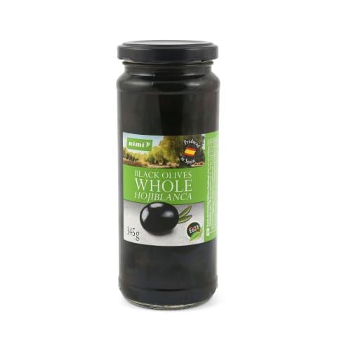 Melnās olīvas Rimi ar kauliņiem 345g/200g