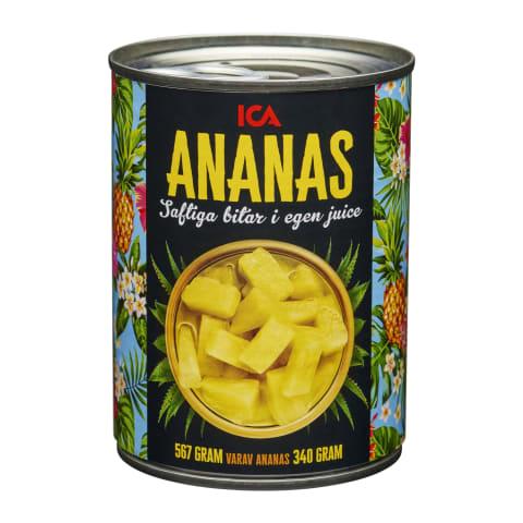 Ananassitükid mahlas ICA 567g