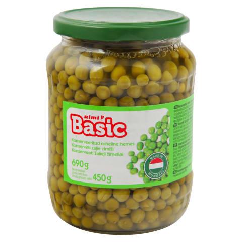 Konservēti zaļie zirnīši Rimi Basic 690g/450g