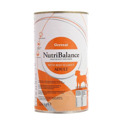 Suņu konservi NutriBalance liellopa 1,24kg