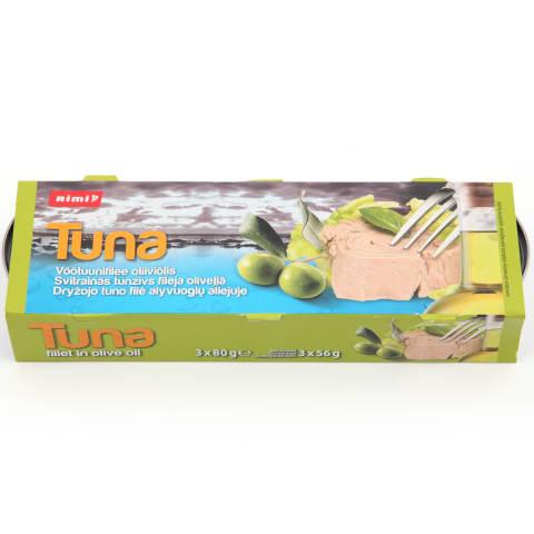 Tuno filė alyvuogių aliejuje RIMI, 3 x 80 g