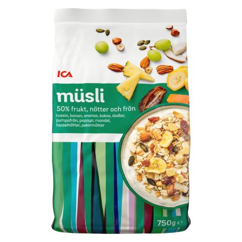 Musli ICA ar 50% augļu un riekstu 750g