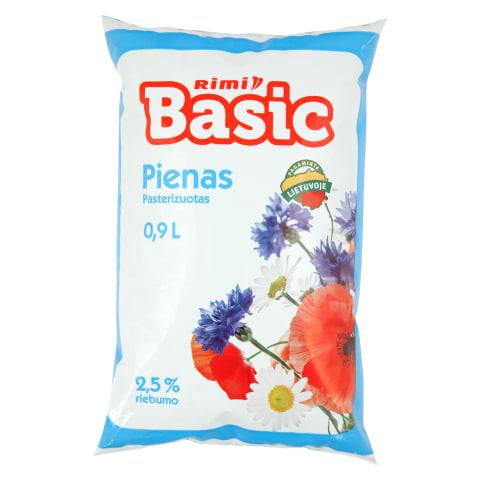 Pienas RIMI BASIC, 2,5% rieb., 0,9l (maiš.)