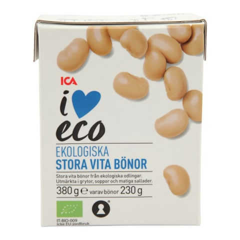 Baltosios pupelės I LOVE ECO, 380g/230g