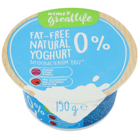Jogurts Rimi GreatLife 0% 150g