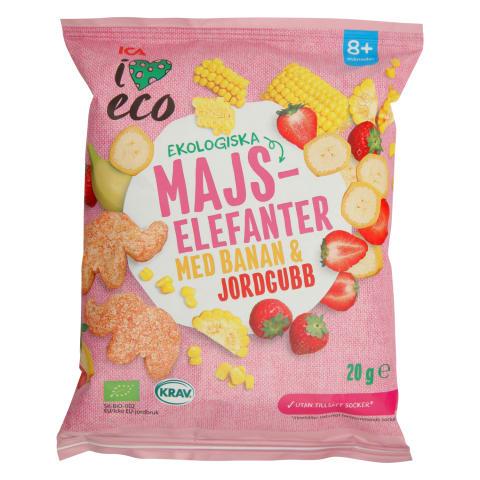 Ekol. kukurūza I Love Eco banānu, zemeņu 20g