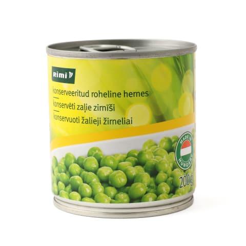 Konservuoti žalieji žirneliai RIMI, 200g/140g