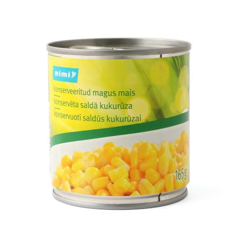 Konservēta saldā kukurūza Rimi 165g/140g