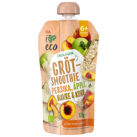 Püree I Love Eco virsik-õun 6k 120g