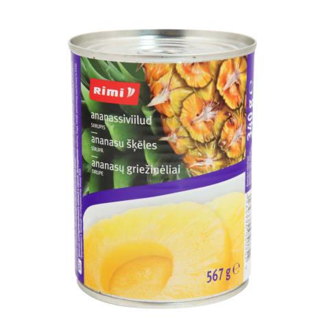 Kons. ananasų griežin.sirupe RIMI, 567g/340g