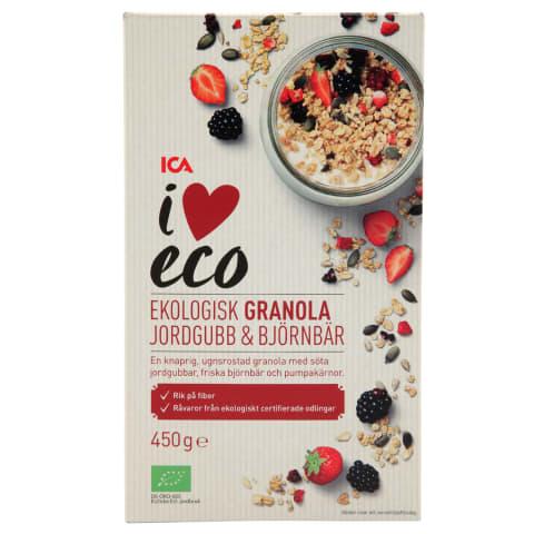 Granola I Love Eco ar zemenēm un kazenēm 450g