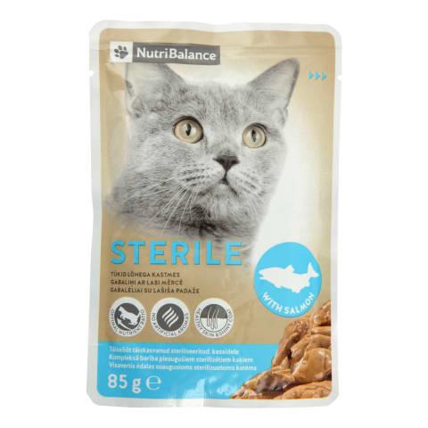 Konservi steril.kaķiem Nutribalance lasis 85g