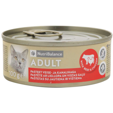 Kaķu barība Nutribalance liellopa,vistas 100g