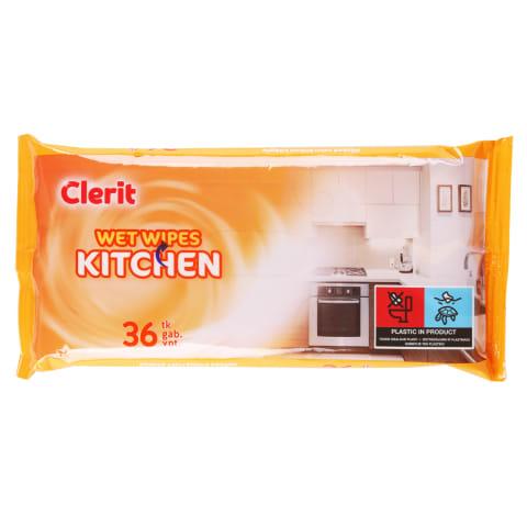 Drėgnos servetėlės CLERIT virtuvei, 36 vnt.