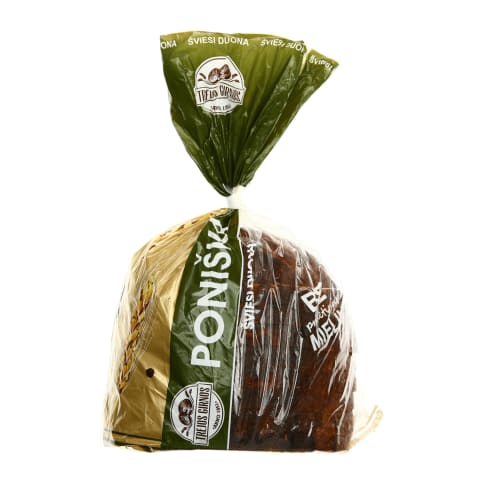 Šviesi bemielė duona PONIŠKA, 600 g