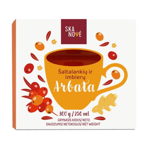 Šaltalankių arbata su imbieru SKANOVĖ, 300 g