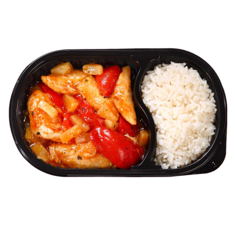 Saldžiarūgštis vištienos troškin.su ryž.,450g