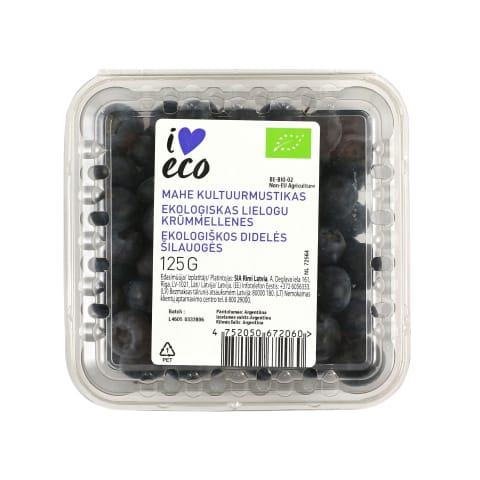 Mustikad pakitud I Love Eco 125g