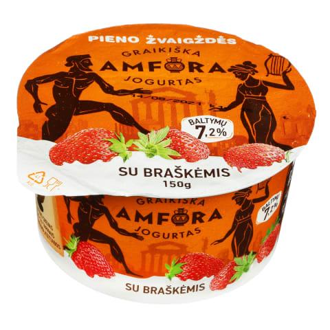 Graikiškas jogurtas su braškėmis, 3,1%, 150g