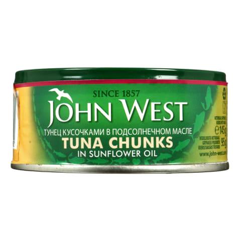 Tunų gabaliukai alieluje JOHN WEST, 145 g