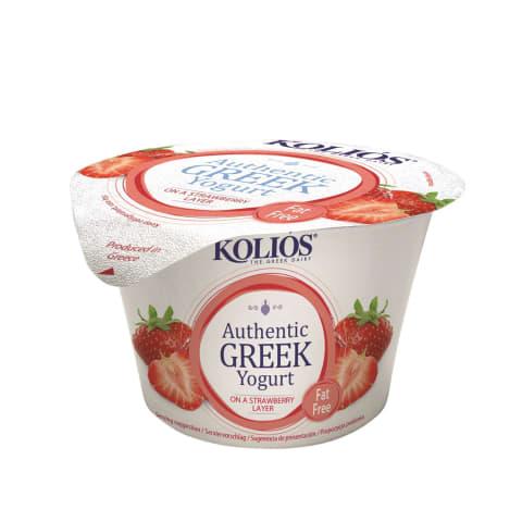 Jogurts Grieķu ar zemeņu piedevu 0% 150g