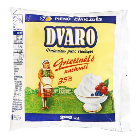 Grietinėlė DVARO, 35 % rieb., 200 ml