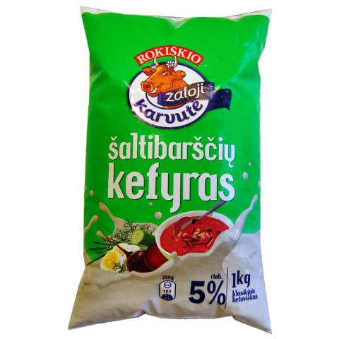 Šaltibarščių kefyras ŽALIOJI KARVUTĖ, 5%, 1kg