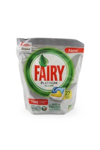 Kapsulas automātiskām trauku mazgāšanas mašīnām fairy platinum dzelt. 27 gab