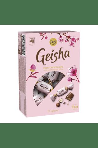 Pieniški šokoladiniai saldainiai su lazdyno riešutų kremu GEISHA, 150 g