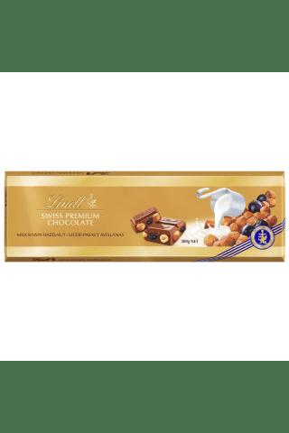 Pieninis šokoladas su razinomis ir lazdyno riešutais LINDT, 300 g