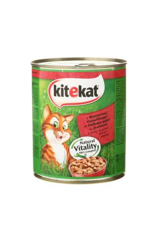 Visavertis konservuotas ėdalas su jautiena padaže suaugusioms katėms. KITEKAT, 800 g