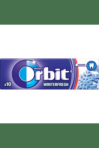 Becukrė mėtų ir mentolio skonio kramtomoji guma su saldikliais ORBIT, 10 vnt, 14 g