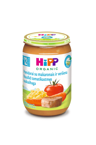 Ekologiška pomidorų, makaronų ir veršienos tyrelė HIPP, nuo 12 mėn., 220 g