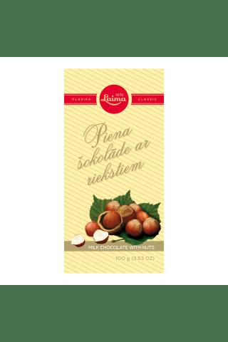 Piena šokolāde ar riekstiem 100g