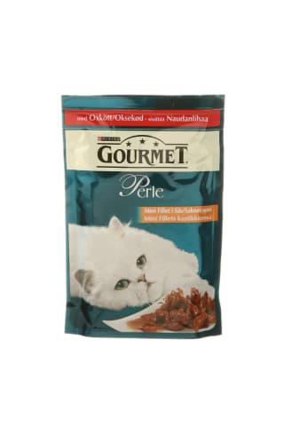 Pilnvērtīga barība istabas pieaugušiem kaķiem Gourmet perle liellopu 85g