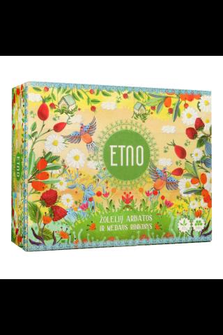 Žolelių arbatų ir medaus rinkinys ETNO,  kartoninėje dėžutėje, 5 rūšys arbatų po 10 vokelių ir medus 10 vokelių