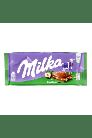 Pieniškas šokoladas su lazdyno riešutais MILKA, 100g
