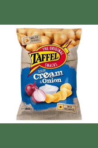 Grietinės ir svogūnų skonio bulvių traškučiai TAFFEL, 150 g